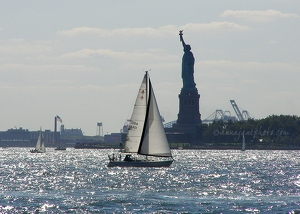 Sailboat & Liberty Island