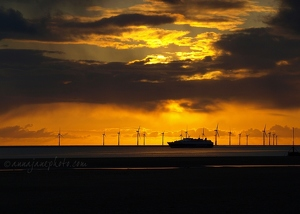 Crosby Sunset, Ferry & Wind Farm