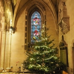 Christ Church Cathedral Stained Glass & Christmas Tree