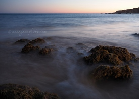 Praia Da Oura Rocks at Sunset