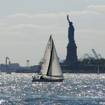 Sailboat & Liberty Island - Anna Nielsson
